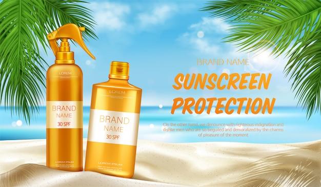 Zonnebrandcrème bescherming uv cosmetische banner, zomer