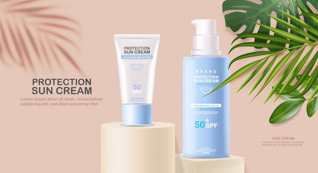 Zonnebrandcrème fles 3d realistisch geïsoleerd, tropische banner, geometrische scène, bescherming zonnebrandcrème, spf 50 zomercosmetica