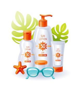 Zonnebrandcrème flessen. zon strand zomer vector. sunblock uv-product. cosmetische lotion voor huidverzorging. platte advertentie-ontwerp. bescherming zonnebrandcrème, zonnebril, zeester, tropisch blad.