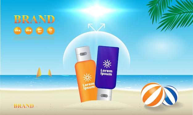 Zonnebrandcrème uv-bescherming op het strand illustratie, reclame sjabloon