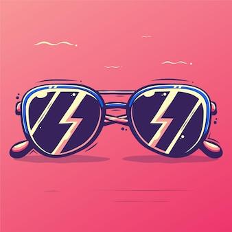 Zonnebril cartoon afbeelding Premium Vector