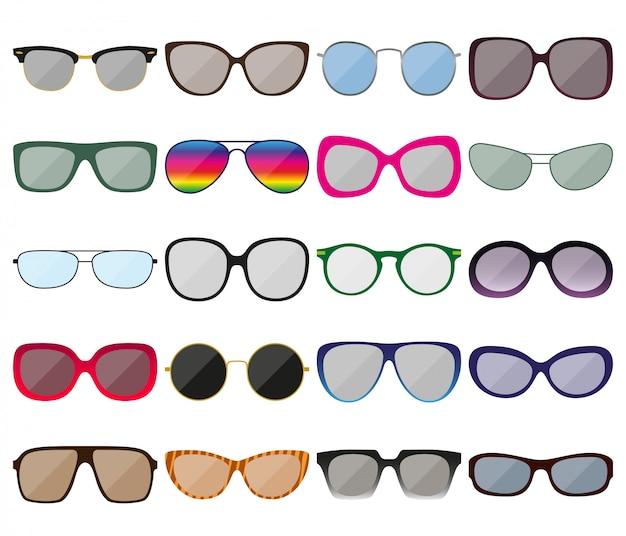 Zonnebril pictogramserie. gekleurde brilmonturen. verschillende vormen. illustratie