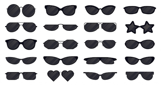 Zonnebrillen eyewear. bril silhouet, zon elegante brillen, zwarte plastic bril. zon lens eyewear illustratie pictogrammen instellen. bescherming tegen zon, brillencollectie