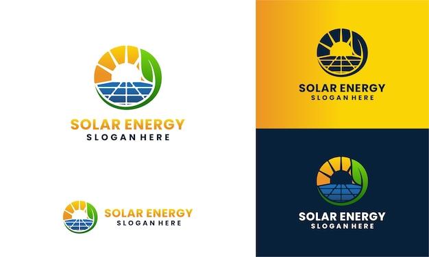 Zonnepaneel en zonne-energie logo met blad concept logo sjabloon