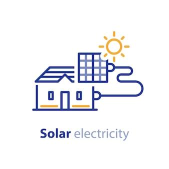 Zonnepaneel op het dak van het huis, elektrische diensten, energiebesparend concept, zonne-elektriciteit, lijn pictogram