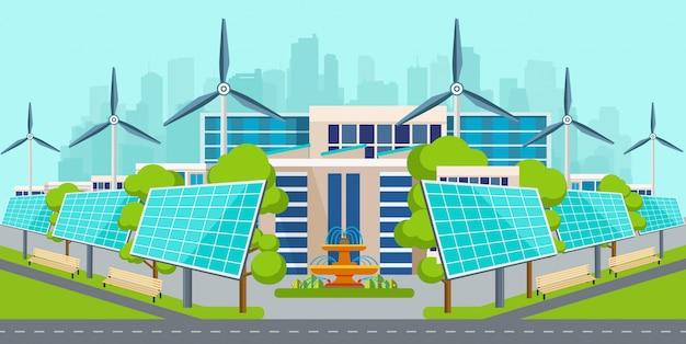 Zonnepanelen met windturbines in stad.