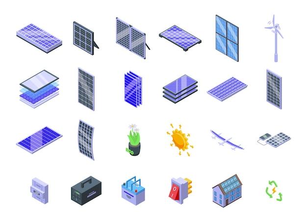 Zonnepanelen pictogrammen instellen isometrische vector. zonne-omvormer