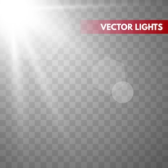 Zonneschijn met stralen en stralen. vector warm lichteffect