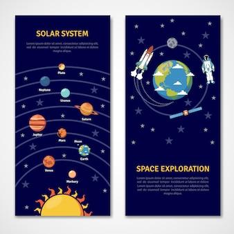 Zonnestelsel en banners voor ruimteverkenning