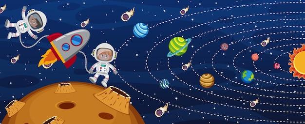 Zonnestelsel in de melkweg met een astronaut en een raketschip