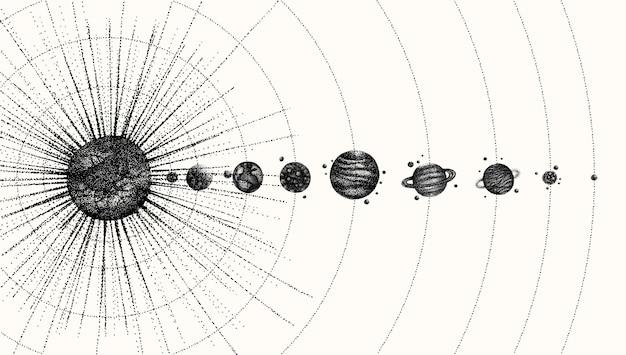 Zonnestelsel in dotwork-stijl. planeten in een baan om de aarde. vintage hand getekende illustratie.