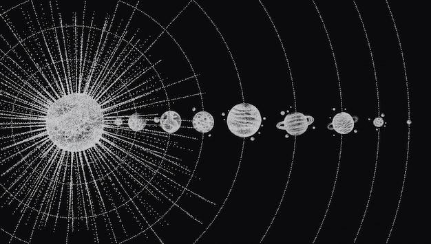 Zonnestelsel in dotwork-stijl. planeten in een baan om de aarde.