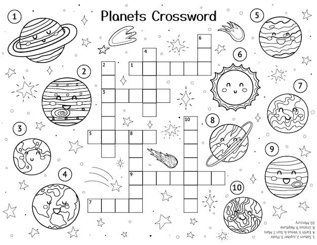 Zonnestelsel kruiswoordpuzzel met schattige planeten zwart-wit ruimteactiviteitspagina voor kinderen