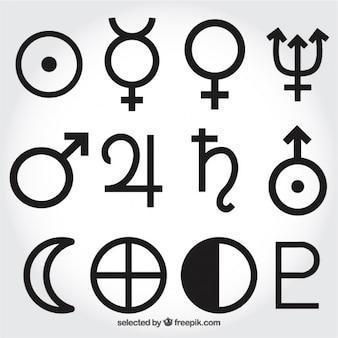 Zonnestelsel symbolen