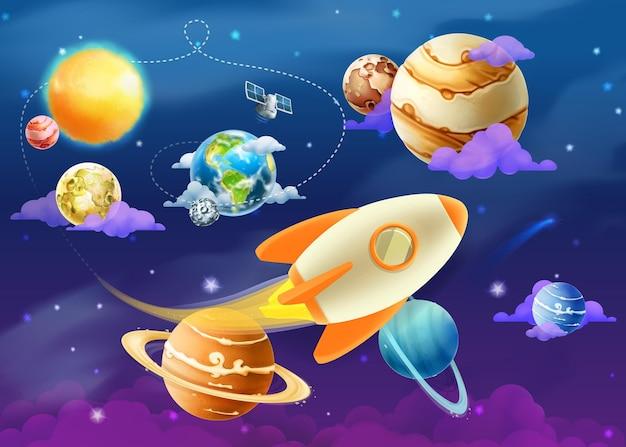 Zonnestelsel van planeten, illustratie