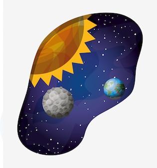 Zonnestelselplaneten en zon