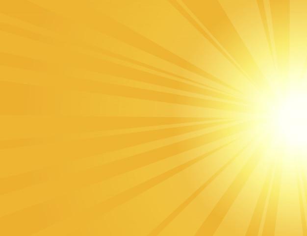 Zonnestralen met zonnestralen op een oranje achtergrond,