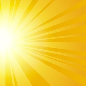 Zonnestralen met zonnestralen op een oranje achtergrond.
