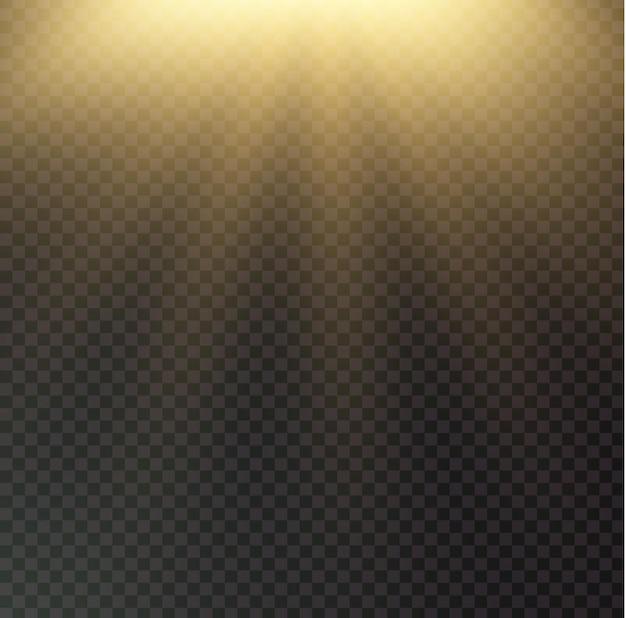 Zonnestralen op zwarte transparante achtergrond. glanzend gloeiend