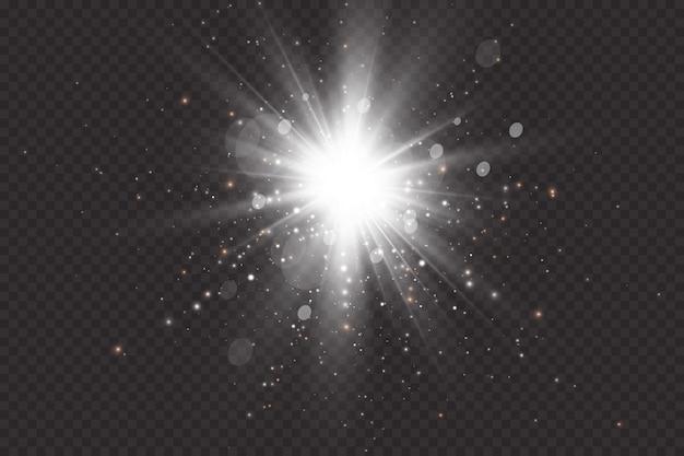 Zonnevlam met stralen en zoeklicht. glow-effect. de ster flitste met glitters.