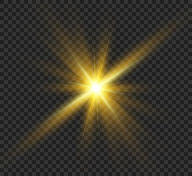 Zonnevlam. mooie heldere magische rijzende ster met heldere stralen. glinsterende lichte graphics.