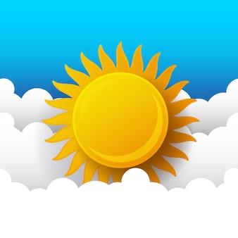 Zonnige achtergrond, blauwe hemel met witte wolken en zon, vectorillustratie.