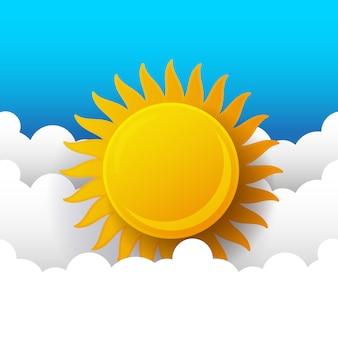 Zonnige achtergrond, blauwe hemel met witte wolken en zon