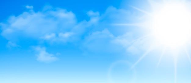 Zonnige achtergrond, blauwe lucht met witte wolken en zon, illustratie.