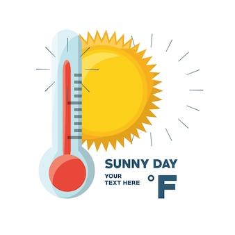 Zonnige dag en thermometer van het weer