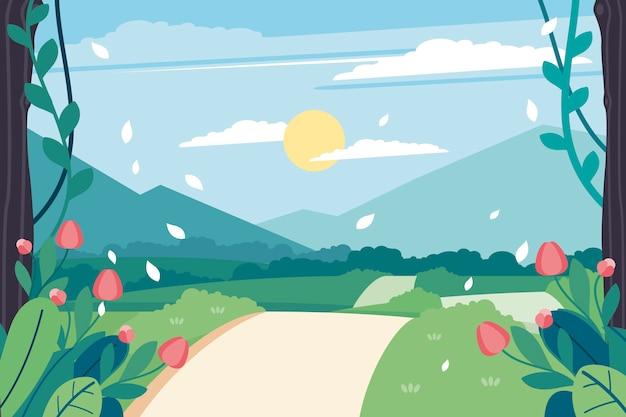 Zonnige dag en weg lente landschap