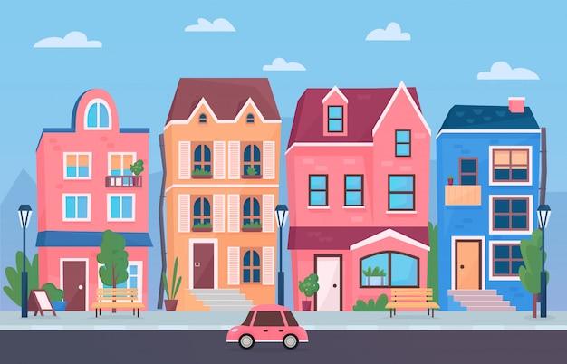 Zonnige dag kleine stadsstraat. cartoon grappige stad gebouwen illustratie.