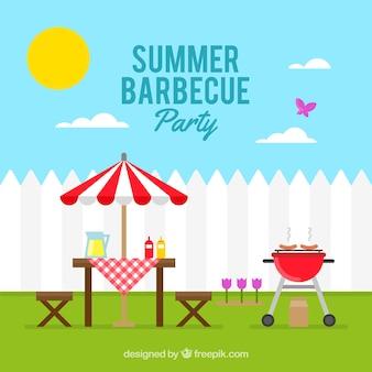 Zonnige dag met een barbecue partij achtergrond