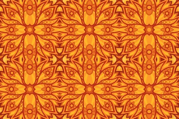 Zonnige gele kunst met kleurrijk naadloos patroon