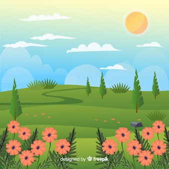 Zonnige landschap lente achtergrond
