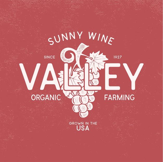 Zonnige wijnvallei winkel logo, wijnmakerij logo sjabloon concept.