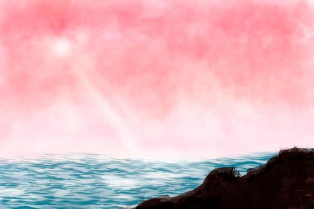 Zonovergoten zeegezicht achtergrond