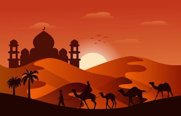 Zonsondergang arabische woestijn kameel caravan moslim islamitische cultuur illustratie