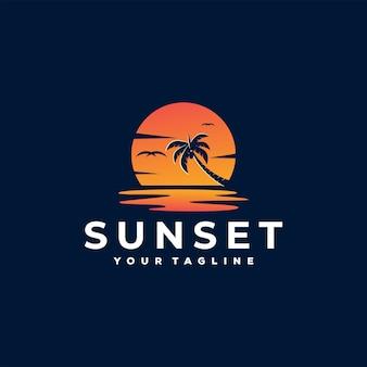 Zonsondergang bij paradijs logo sjabloon