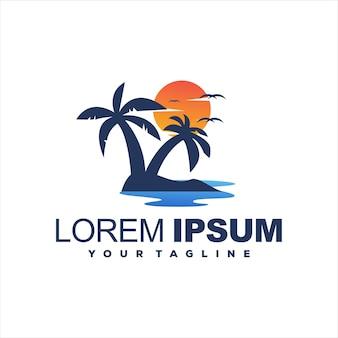 Zonsondergang boom gradiënt logo ontwerp