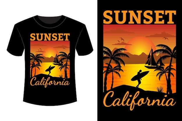 Zonsondergang californië t-shirt ontwerp vintage retro