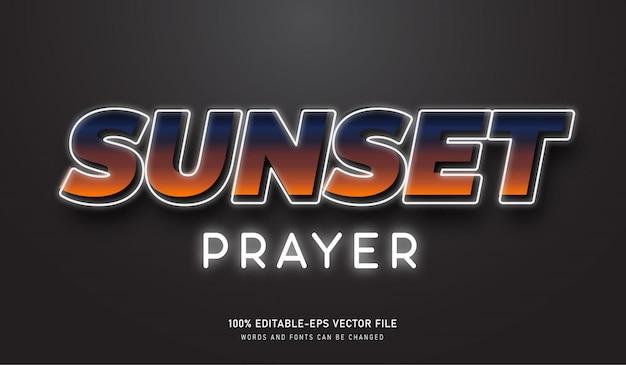 Zonsondergang gebed teksteffect met wit neon