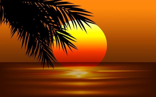 Zonsondergang illustratie met palmbladeren
