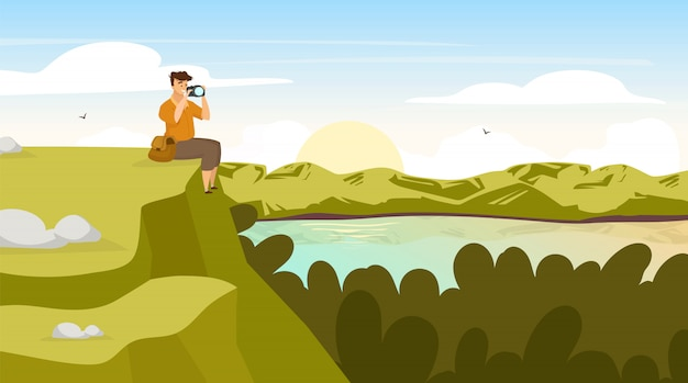Zonsondergang in bosillustratie. photogrph landschap van backpacker. man zit op de heuvel. fotograaf op bergtop. zonsondergang op het meer. panoramische scène. mannelijke toeristische stripfiguren
