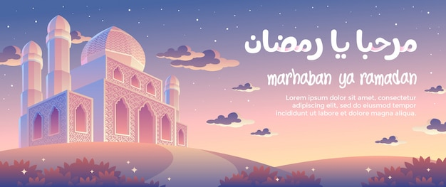 Zonsondergang in de avond van marhaban ya ramadan greeting card