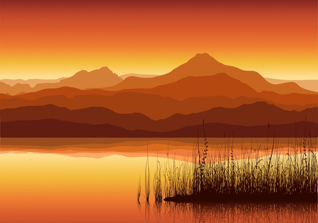Zonsondergang in enorme bergen dichtbij meer
