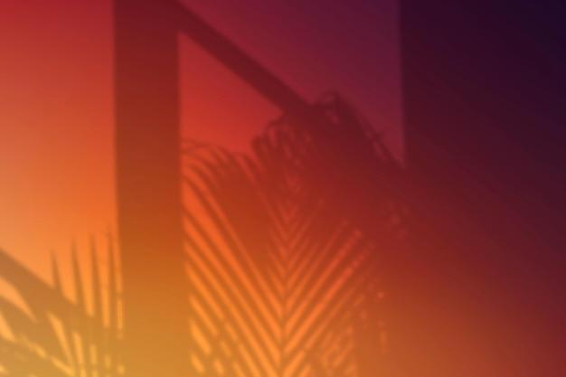 Zonsondergang kleur achtergrond vector met blad schaduw