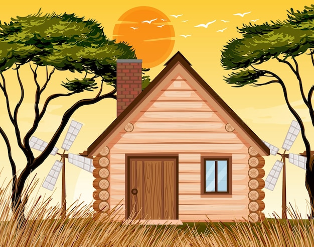 Zonsondergang natuur huisscène