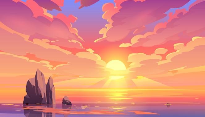 Zonsondergang of zonsopgang in oceaan, aardlandschap.
