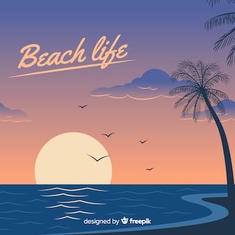 Zonsondergang op een strandachtergrond