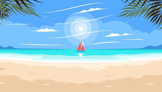 Zonsondergang op een zee of oceaan strand onder palmbomen zonsondergang op het strand onder de palmbomen zomer